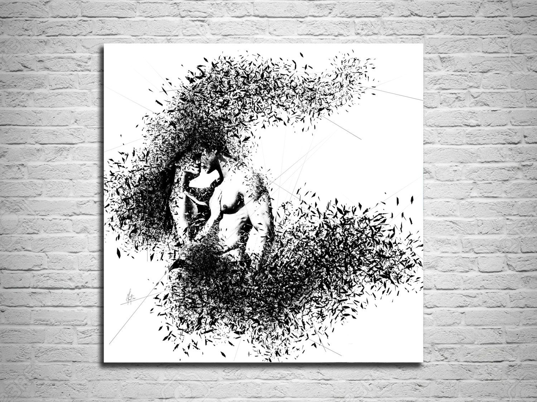 Elegant Minimalist Abstract Couple Art Canvas Print  Modern Sexy Master  Bedroom Wall Art  Nude. Elegant Minimalist Abstract Couple Art Canvas Print  Modern Sexy