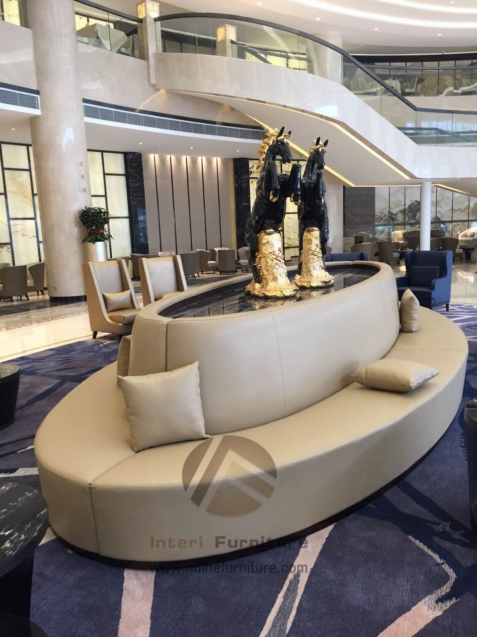 oval sofa furniture bed sectional big in the public resting place central part of lobby