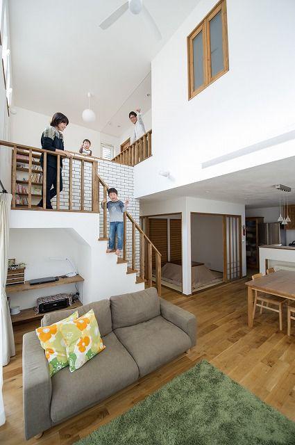 中二階にミニ図書館にあるお家 注文住宅 家 広島 工務店 フォトギャラリー オールハウス 画像あり 住宅 家 インテリアデザイン