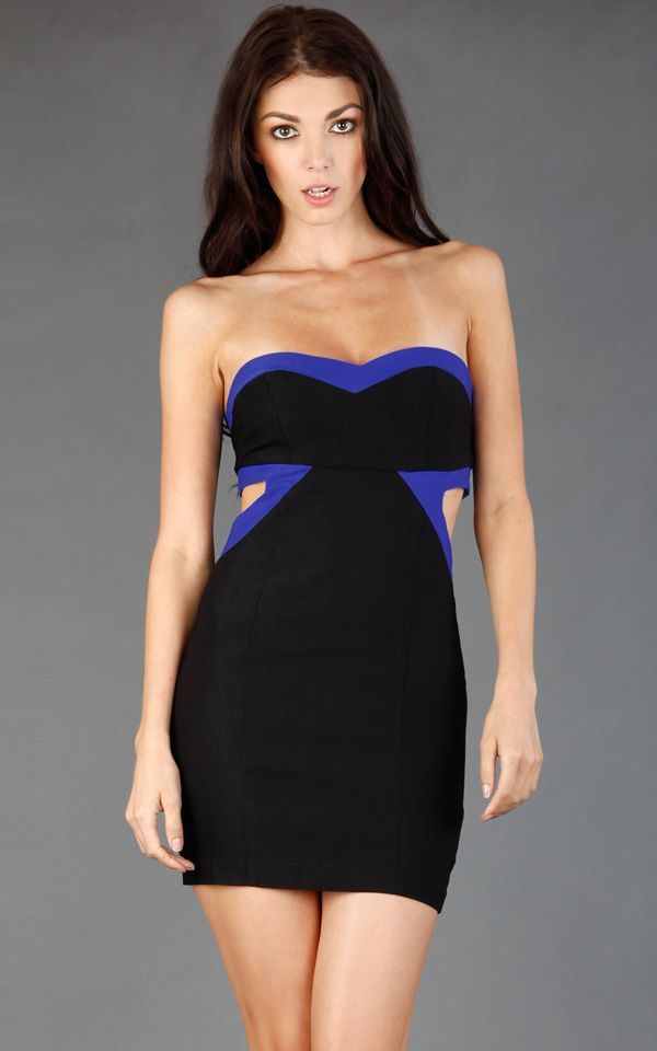 contrast border cutout dress