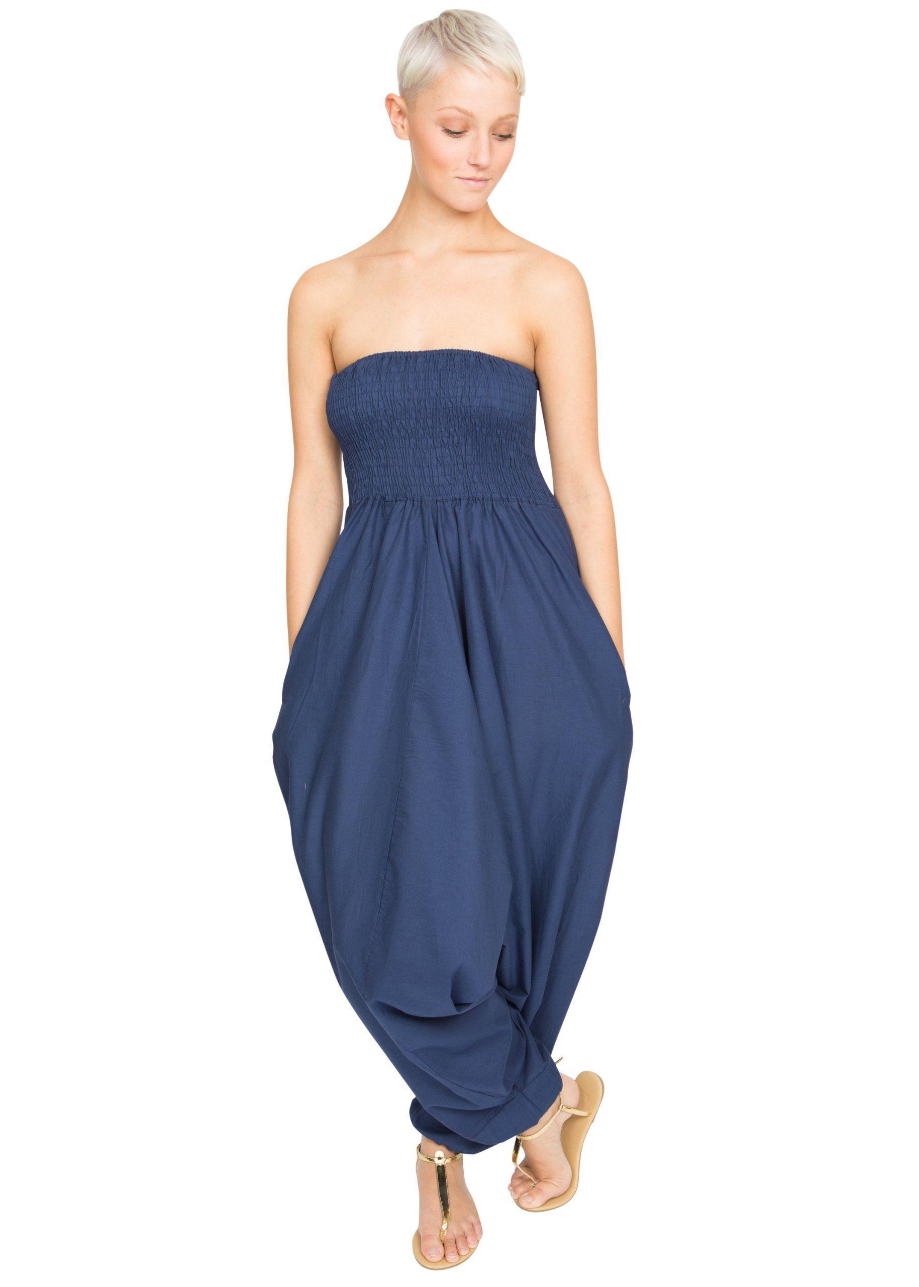 Cotton Maxi Harem Pants Romper Jumpsuit Royal Blue, One szie fit size 6 - 16