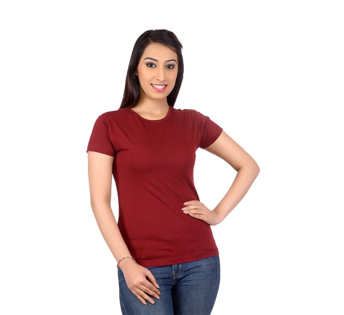Teemoods Plain Maroon T Shirt Tm 1176 Women 39 S Tees