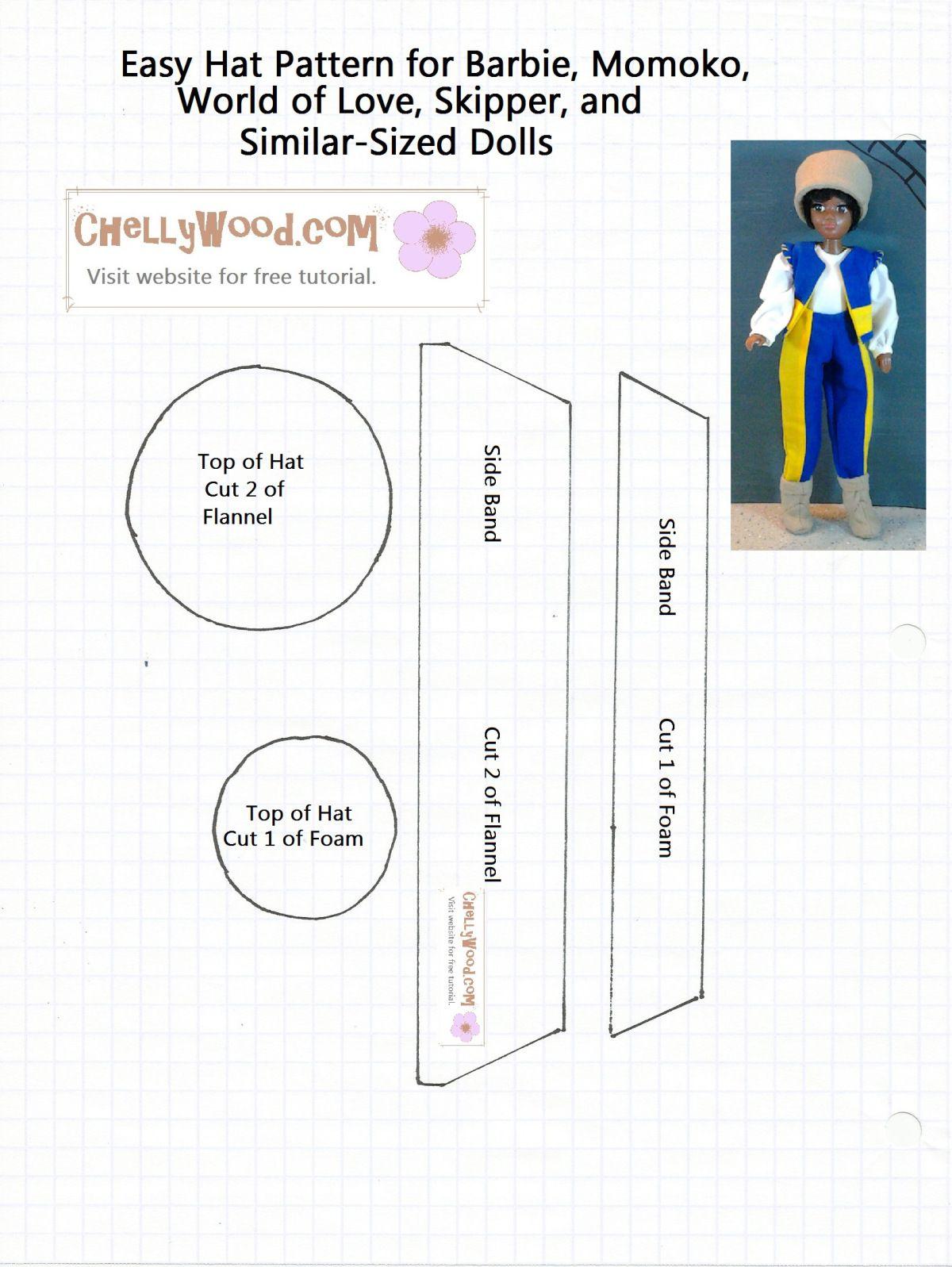 Patrón para coser un sombrero para adaptarse a Barbie, muñecas ...