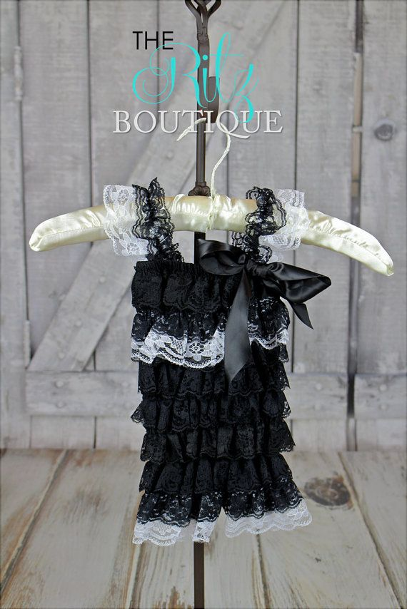 BLACK lace petti romper, lace romper, photo prop, birthday outfit, romper with sleeves