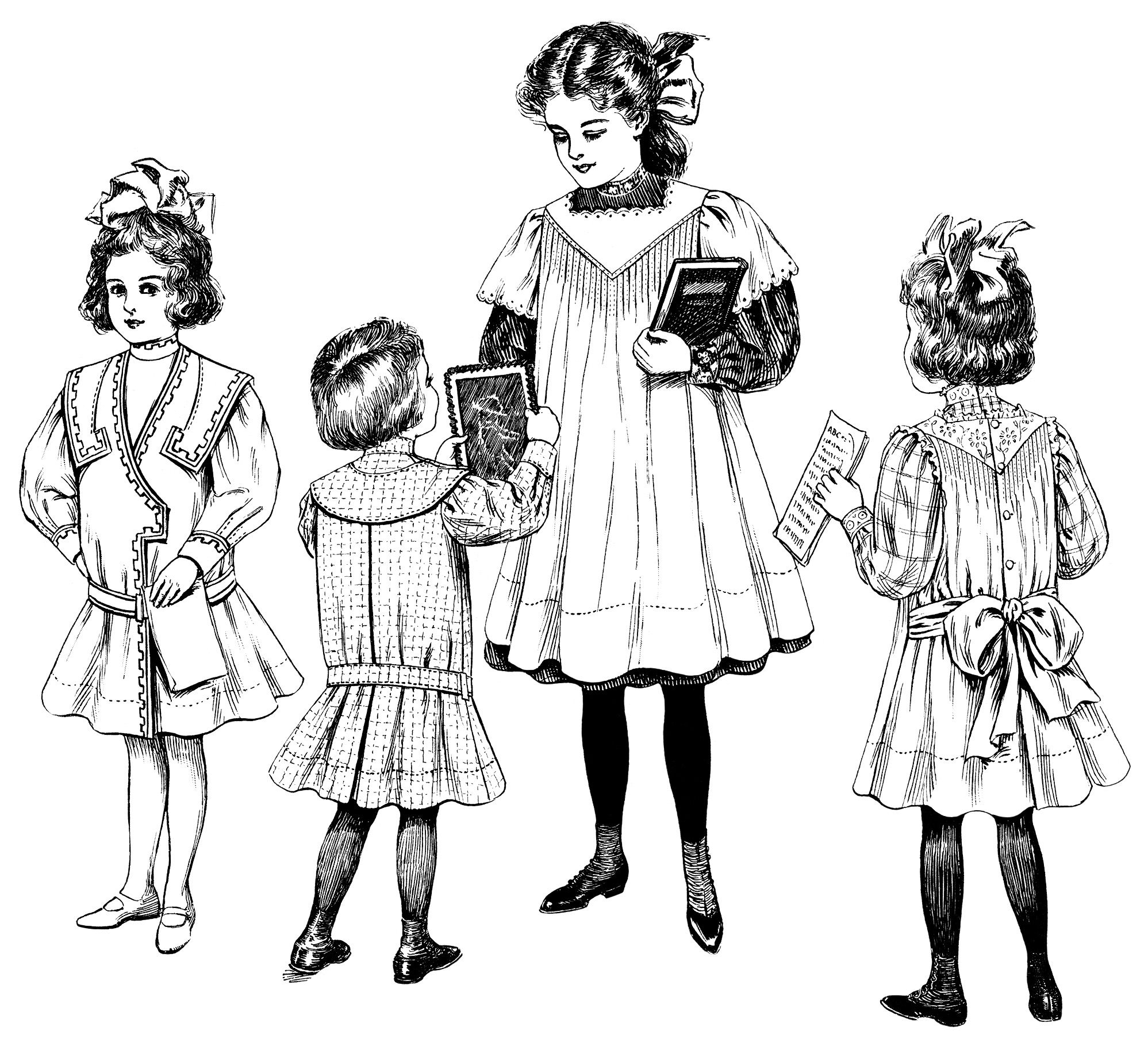... clothing styles for children in 1908. The oldest child is holding a book and the younger three are each holding a handmade card or handwritten notes.