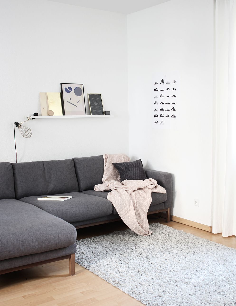Touch of pink | Grey corner sofa, Interiors and Gray