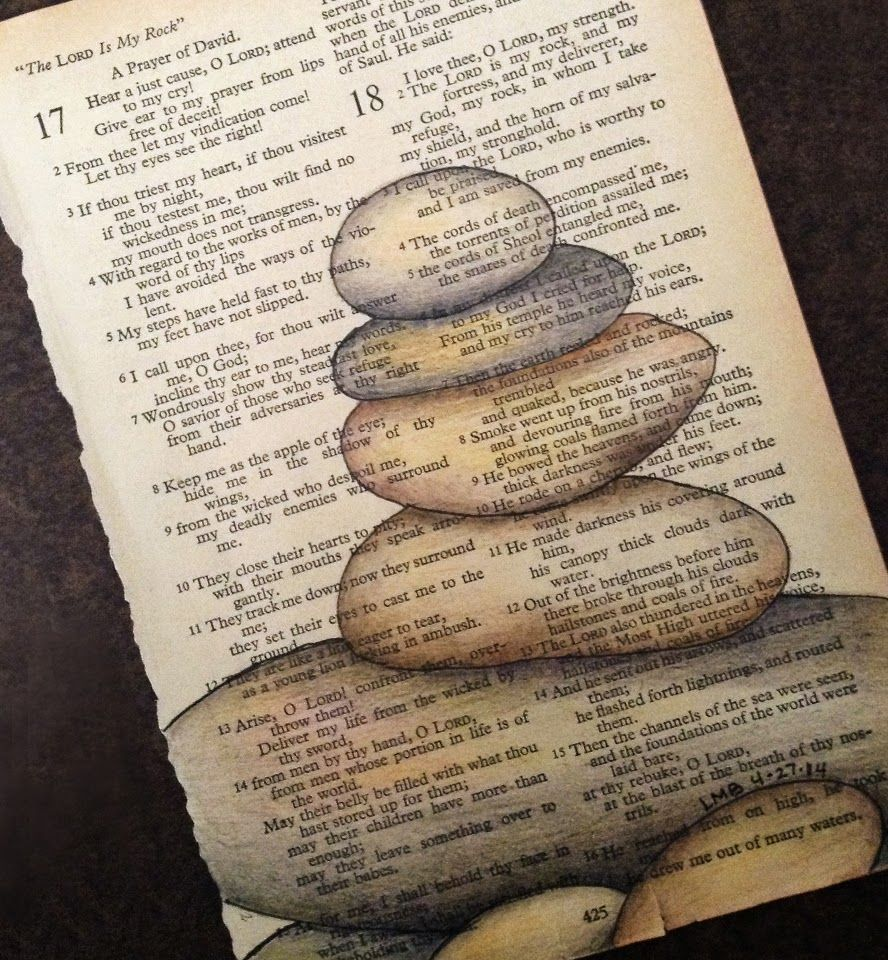 The Lord Is My Rock Vintage Bible Page Ink Prismacolor