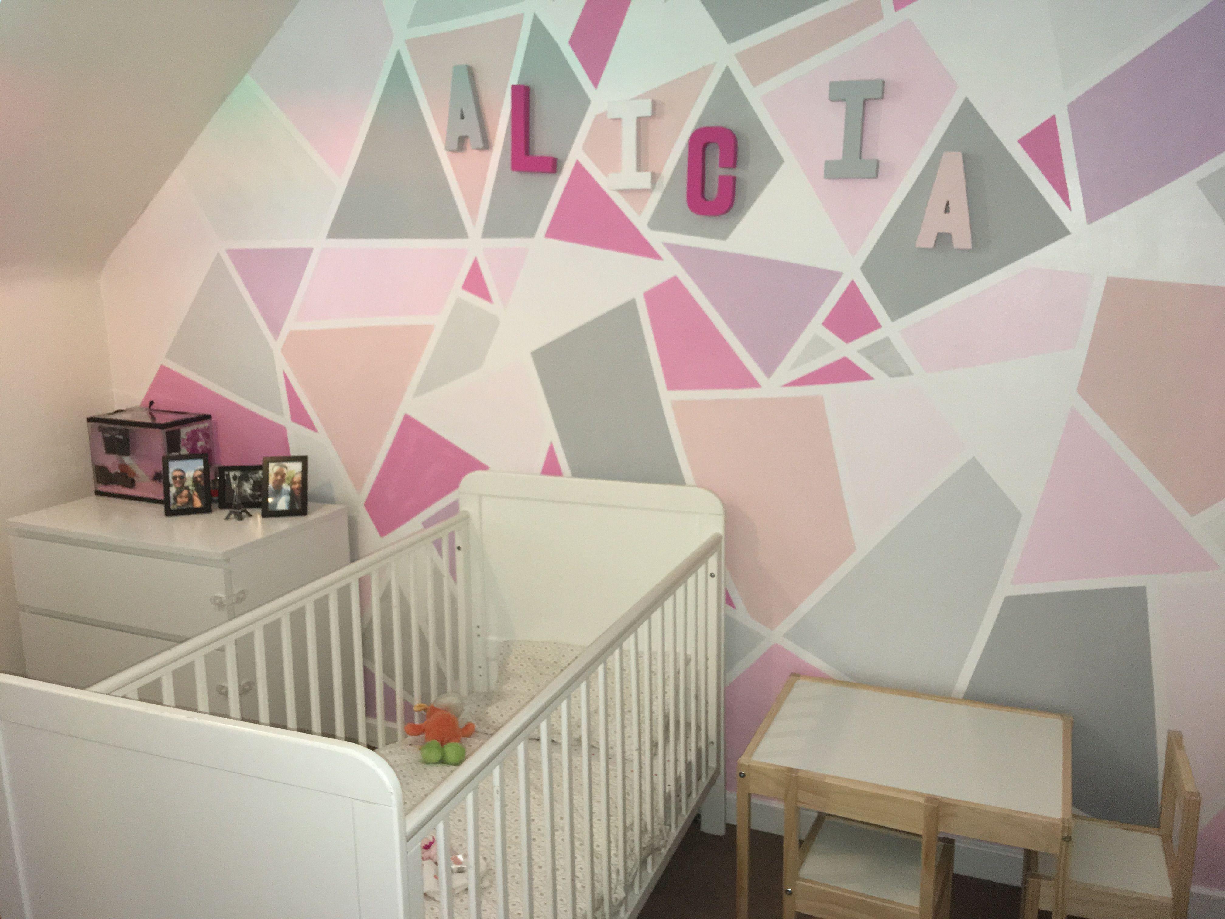 Nursery Baby Girl Pink White Grey Modern Diy Frogtape Geometric Featurewall Kids Room Paint Girl Room Frog Tape Wall