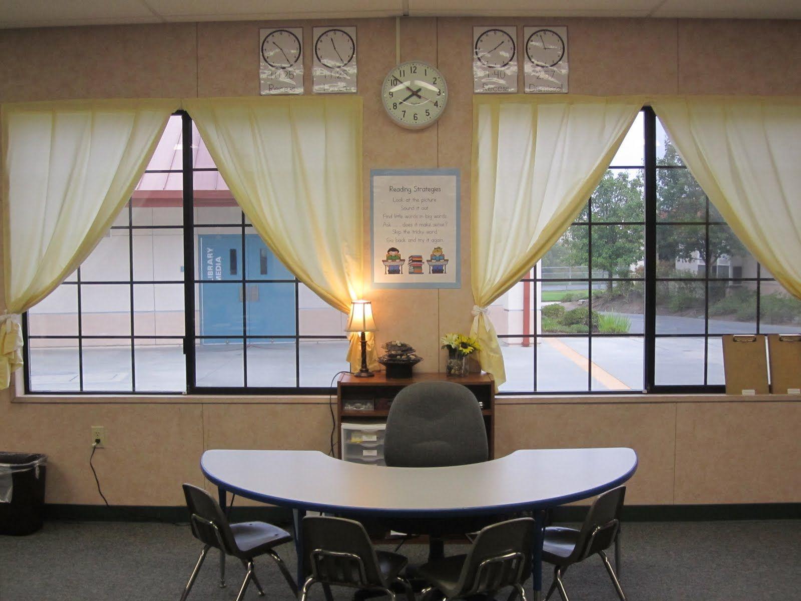 Neutral Classroom Decor ~ Curtains and lights classroom decor pinterest