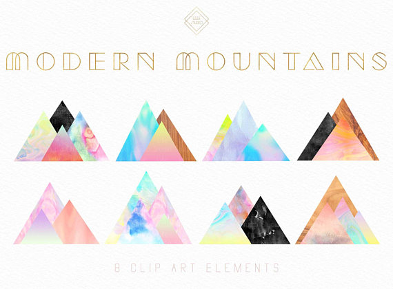 Modern Watercolor Mountain Clipart Geometric Clipart Water Color