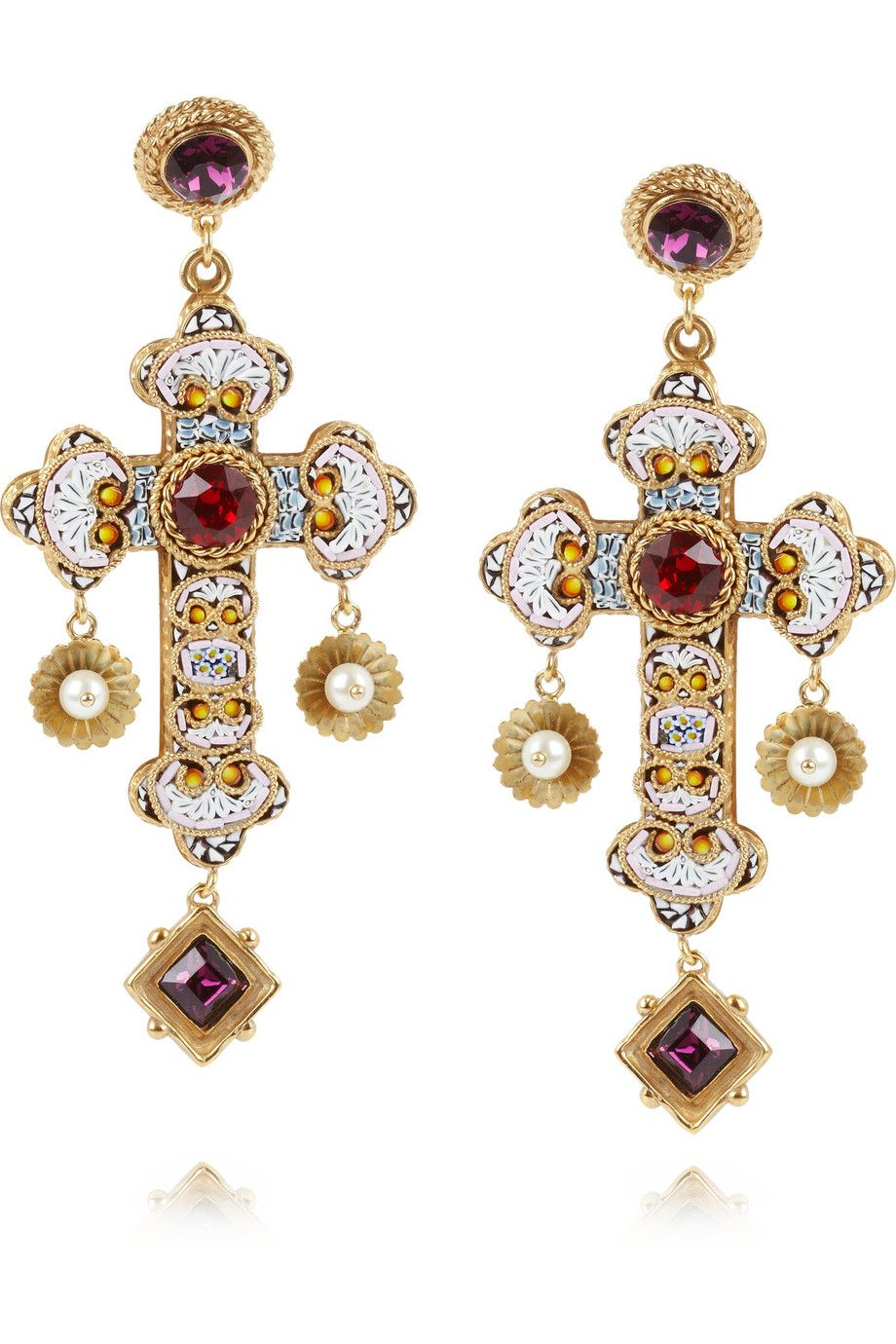 Dolce Gabbana Gold Plated Swarovski Crystal Cross Clip Earrings Net A Porter Com