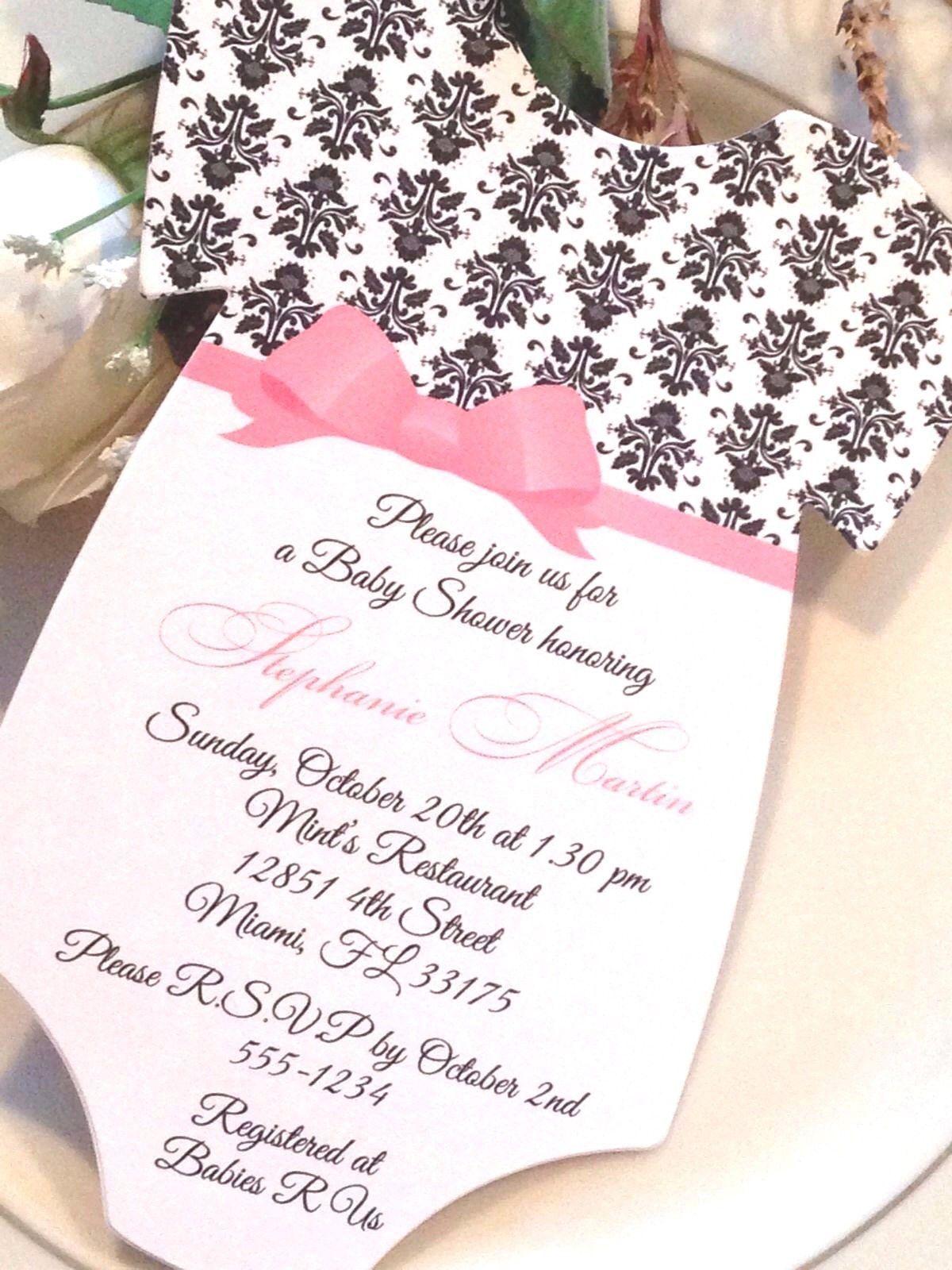 Set of 10 Damask Baby Shower Invitation For Girl - Elegant Bow Sash ...