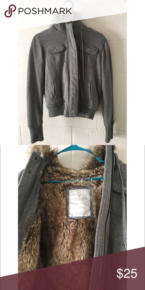 Faux fur hoodie If you need warmth, this sweater can have you covered! Extremely warm and great for college students who attend school in the cold or if you hangout outdoors while it's cold out. Size is large but I believe irregular, recommend for someone who wears medium or small American Eagle Outfitters Jackets & Coats