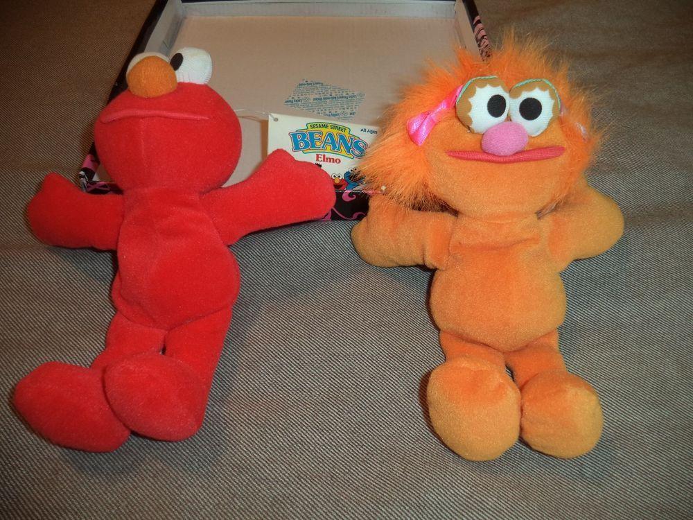 7e908fb215b Set of 2 - Sesame Street Elmo Zoe Mini Bean Bag Beanie Babies  Tyco ...