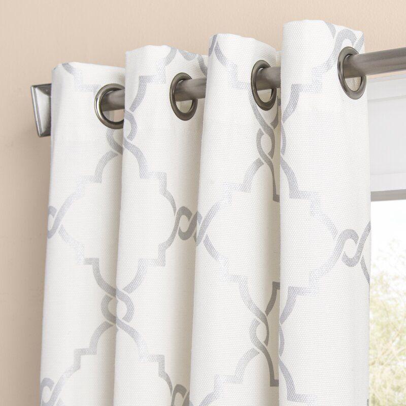 Winnett Geometric Semi Sheer Grommet Curtain Grommet Curtains