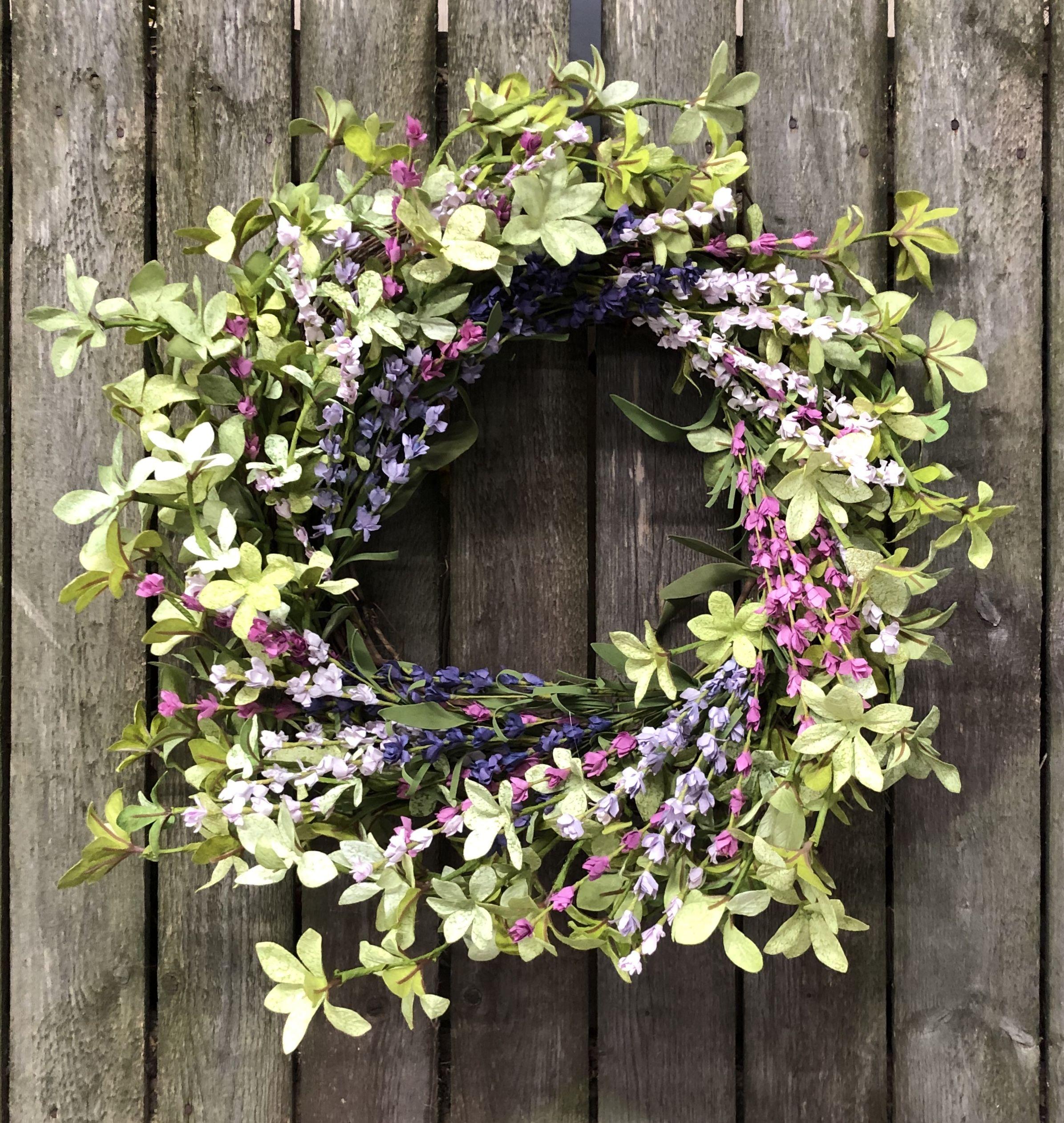 Farm house floral wreath spring front door decor summer