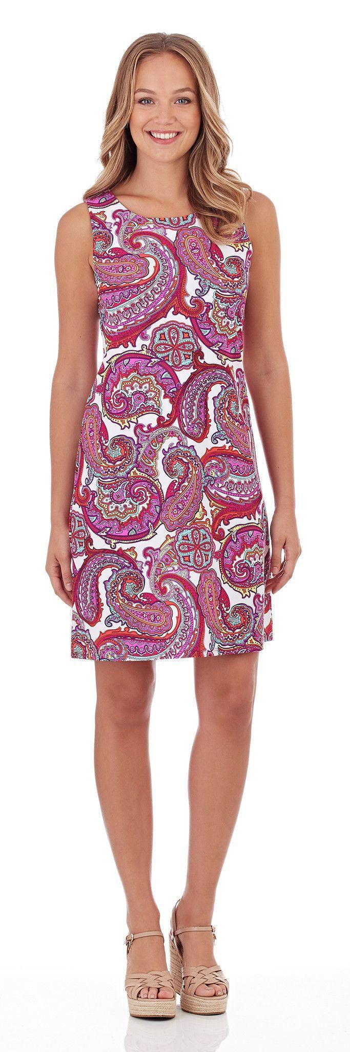 Jude Connally Beth Dress In Paradise Paisley Fuchsia