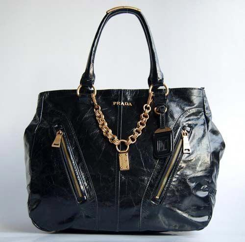 Prada BL865B Leather Top-Handle Bag In Black | Prada, Bags
