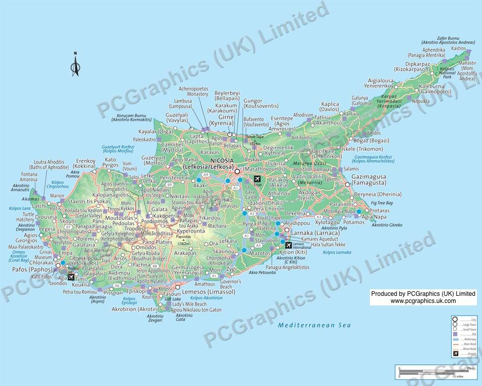 Map of cyprus produced by pcgraphics see more of our maps on our pcgraphics uk limited are one of the uks leading cartographic service companies specialising in custom made maps of anywhere in the world gumiabroncs Choice Image