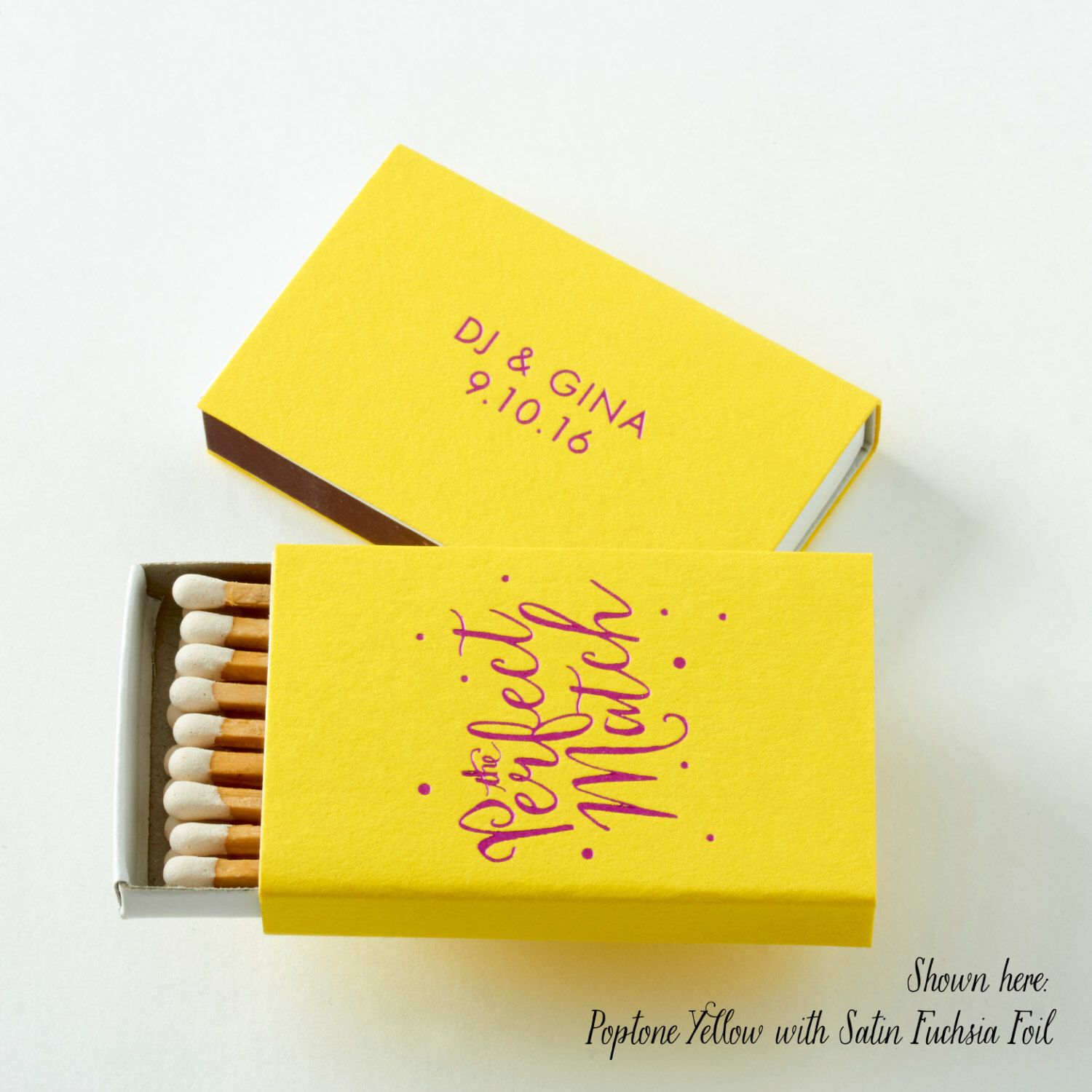 The Perfect Match W Polka Dots Matchboxes Wedding Favor