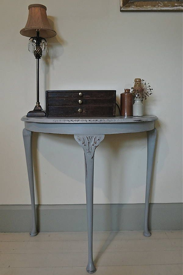 Vintage Distressed Demi Lune Table