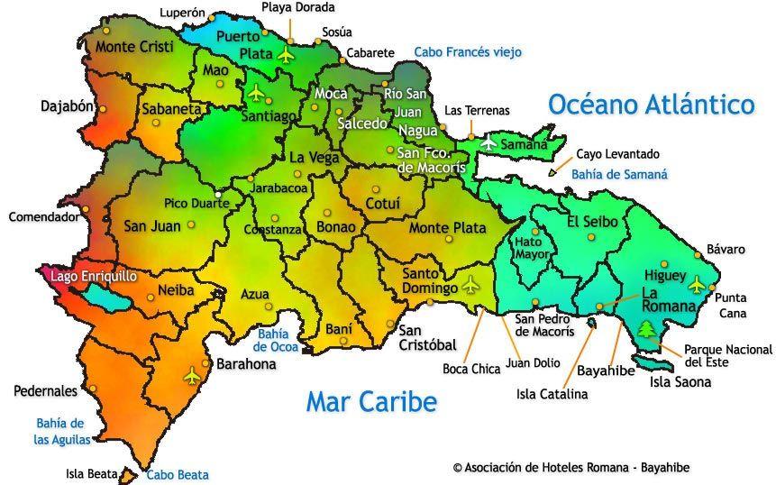 Mapa De La República Dominicana Dominican Republic Map Dominican Republic Travel Dominican Republic