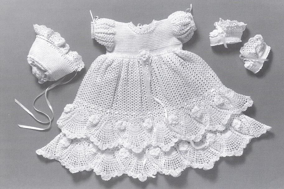 CROCHET PATTERN Christening Gown Outfit Baby Dress Blanket And Unique Crochet Christening Gown Pattern