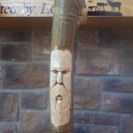 Old Man face in a walking stick - www.ozarkwalkingsticks.com #carving #walking stick