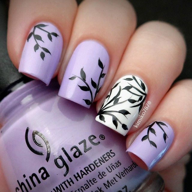 purple, white, and black leaves nails - Pin By Aurore Lacote On Nails Nails Nails Pinterest Nail Nail