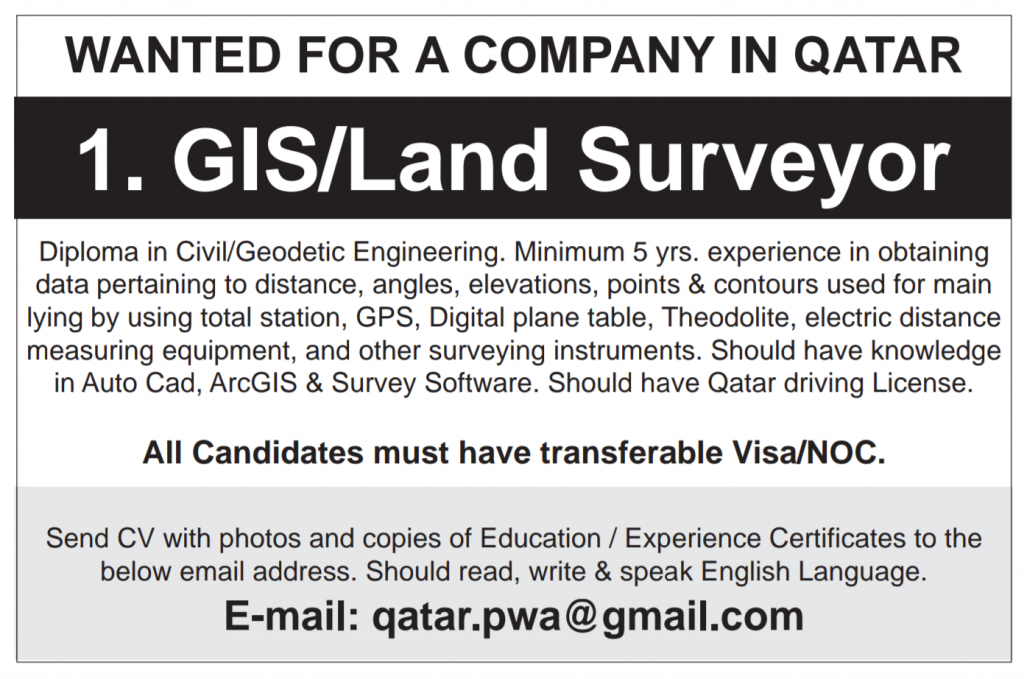 Planning Engineer Quantity Surveyor Project Manager Construction Manager Jobs In Qatar Jobs N Jobs Civil Engineering Jobs In Pakistan International Jobs