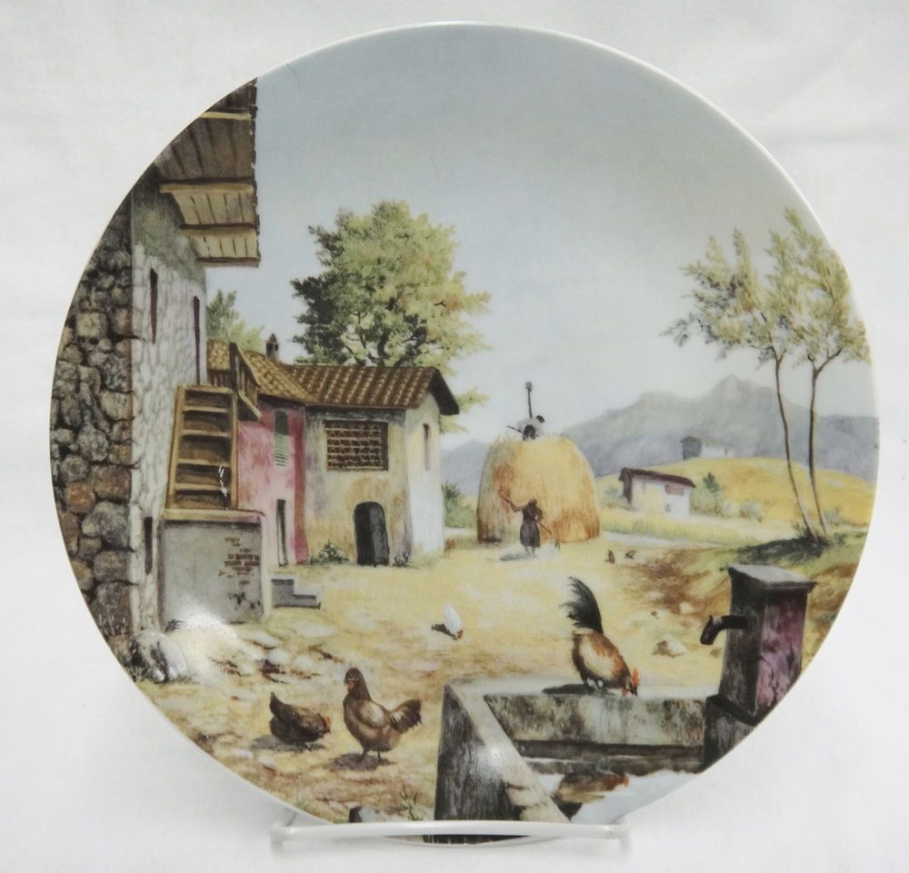 Vizavi Italian Porcelain Collector Plate with Fall Harvest European Countryside #Vizavi
