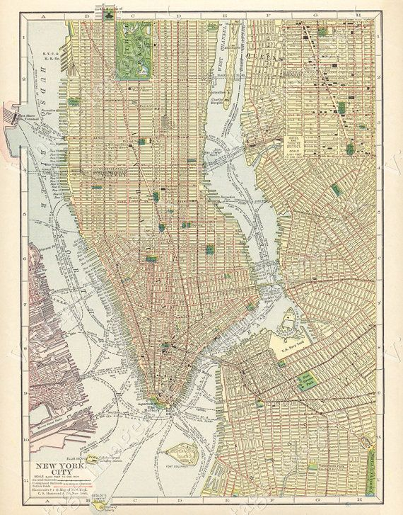 huge vintage historic 1910 new york city nyc old antique style street map city plan fine art print giclee poster