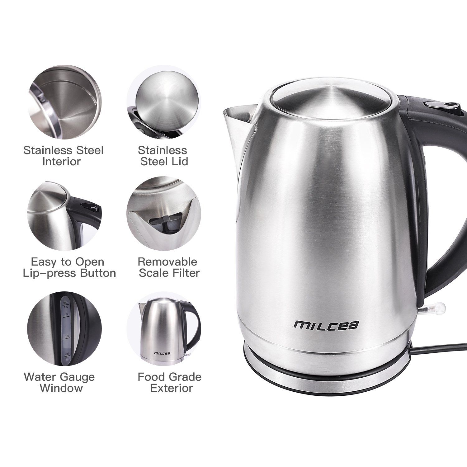 Electric Kettle MILCEA Cordless Electric Tea Kettle Stainless Steel ...