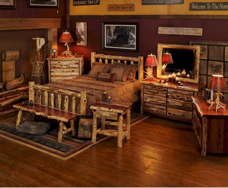 Rustic Antique Bedroom Furniture With Wood Flooring And