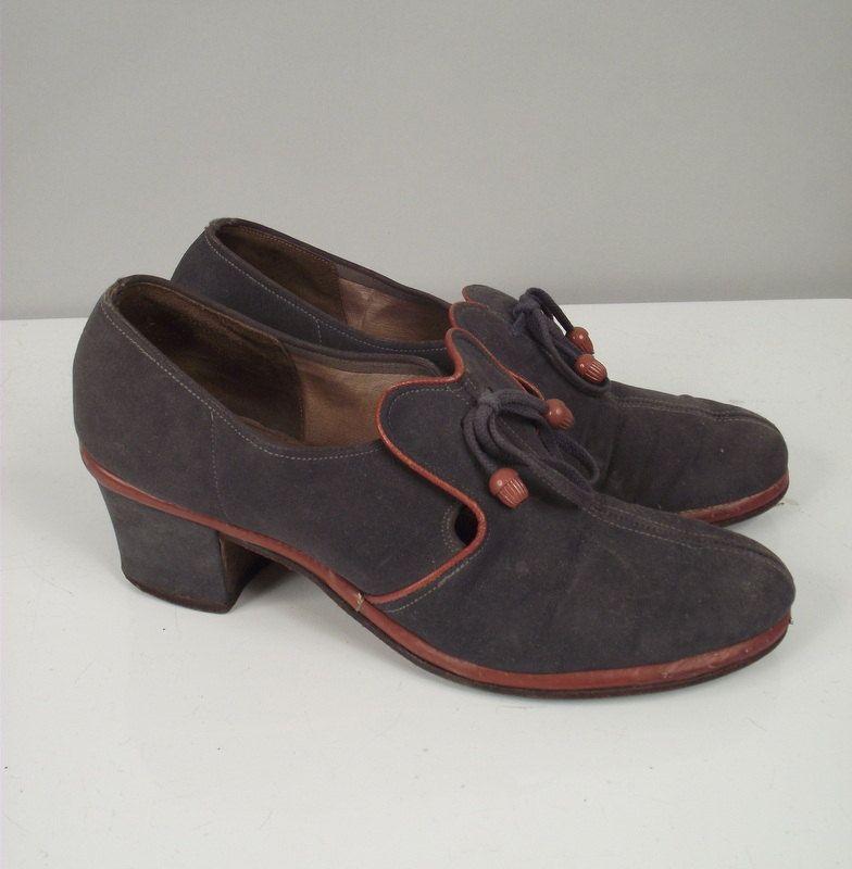 1940s Shoes / 40s Blue Suede Shoes / Size 8
