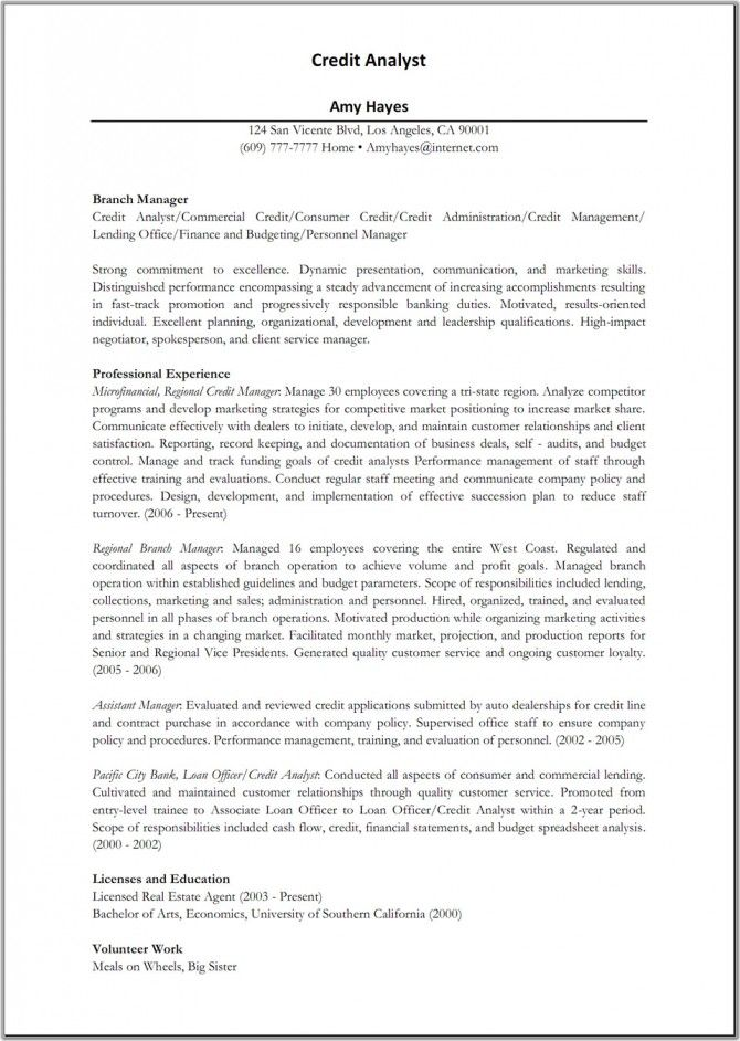 Credit-Analyst Sample of professional resumes Pinterest - credit manager resume