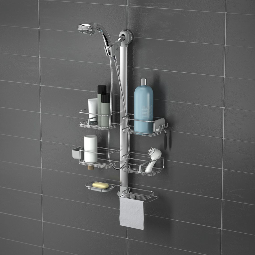 Adjustable Shower Caddy Stainless Steel Anodized Aluminum In