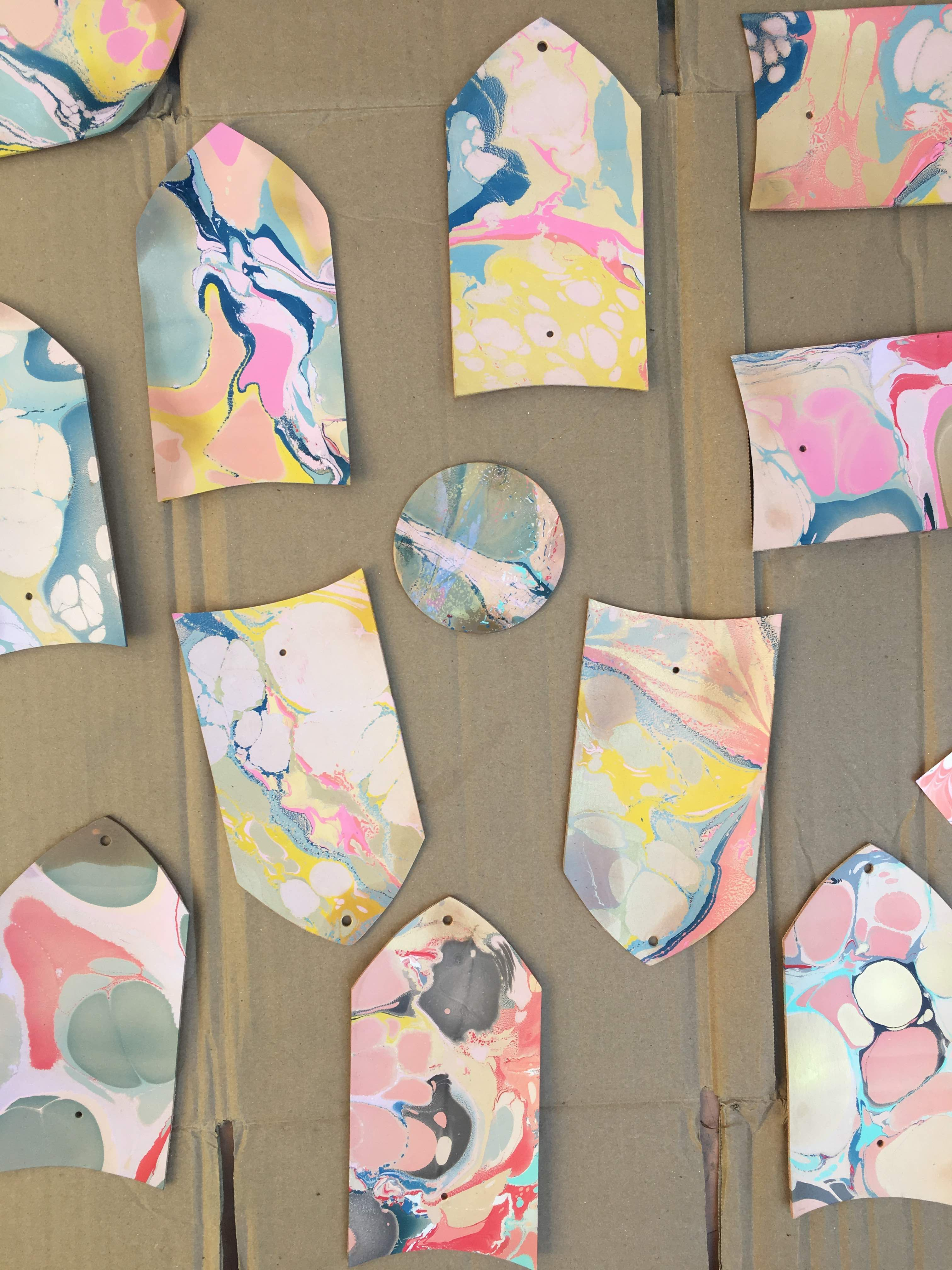 Marbled leather patterns for wallets by Lillian Farag