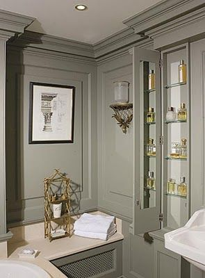 Grey paneling in powder room -the perfect shade of French grey