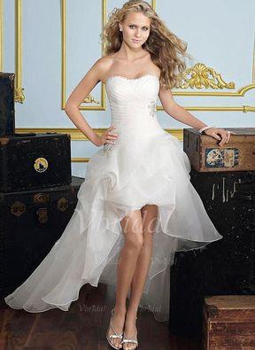 f64c5bb0813 A-Linie Princess-Linie Trägerlos Herzausschnitt Asymmetrisch Organza  Brautkleid mit Rüschen Perlen verziert (0025056883)