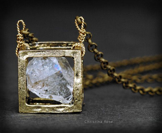 RAW DIAMOND NECKLACE - Floating Cube Pendant, Distressed Vintage Gold Cube Extra…