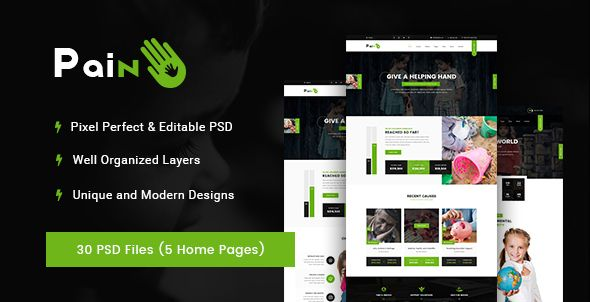 Pain - Charity \ Fundraise Non-profit PSD Template  Pain is - ngo templates