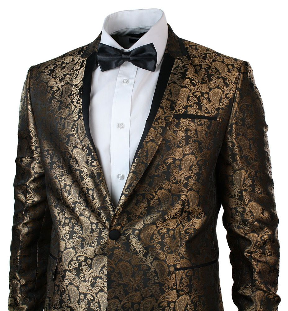 Details about Mens Slim Fit Gold Black Paisley Suit Tuxedo Wedding ...