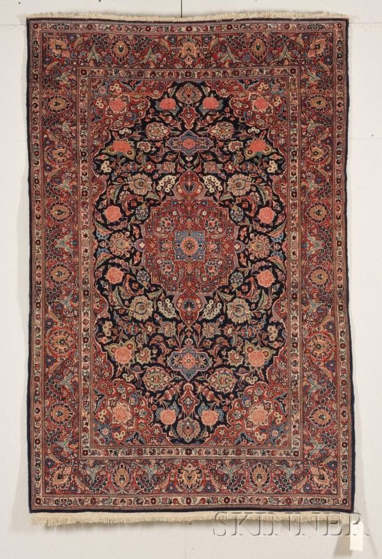 Kashan Rug Central Persia Second Quarter 20th Century 6 Ft 8 In X 4 Ft 6 In Skinner Auctioneers Kashan Rug Rugs Persian Carpet