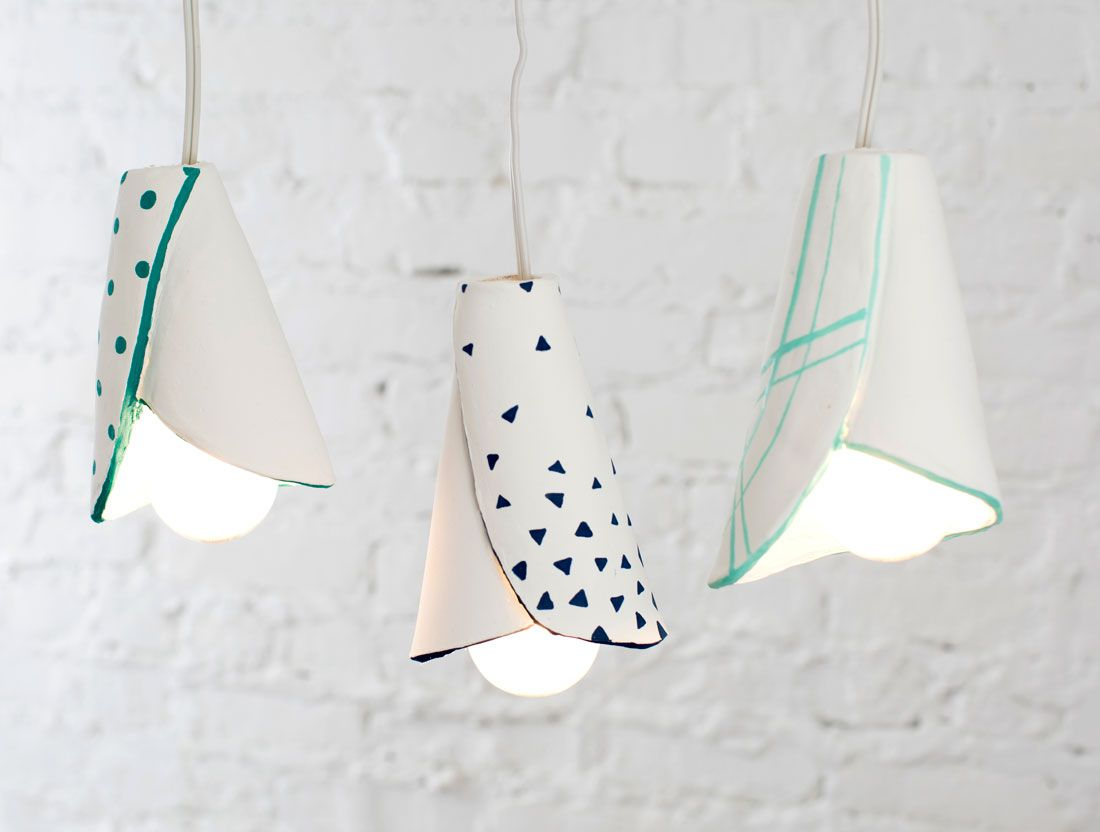Use clay and paint pens to DIY modern hanging lamps. | Light Up A ... for Clay Lamp Design  165jwn
