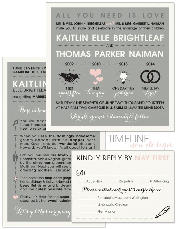 Timeline Wedding Invitation, Reply Card and Program | Invitation ...