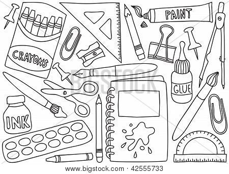 Dibujos De Utiles Escolares Para Colorear Google Search