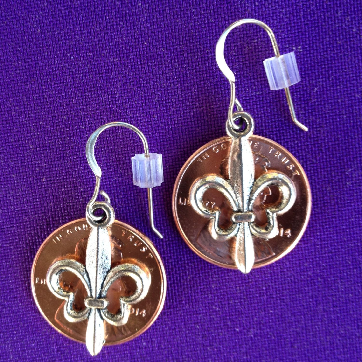 Lucky Penny Earrings with Fleur De Lis Charms - on sterling earwires - pinned by pin4etsy.com
