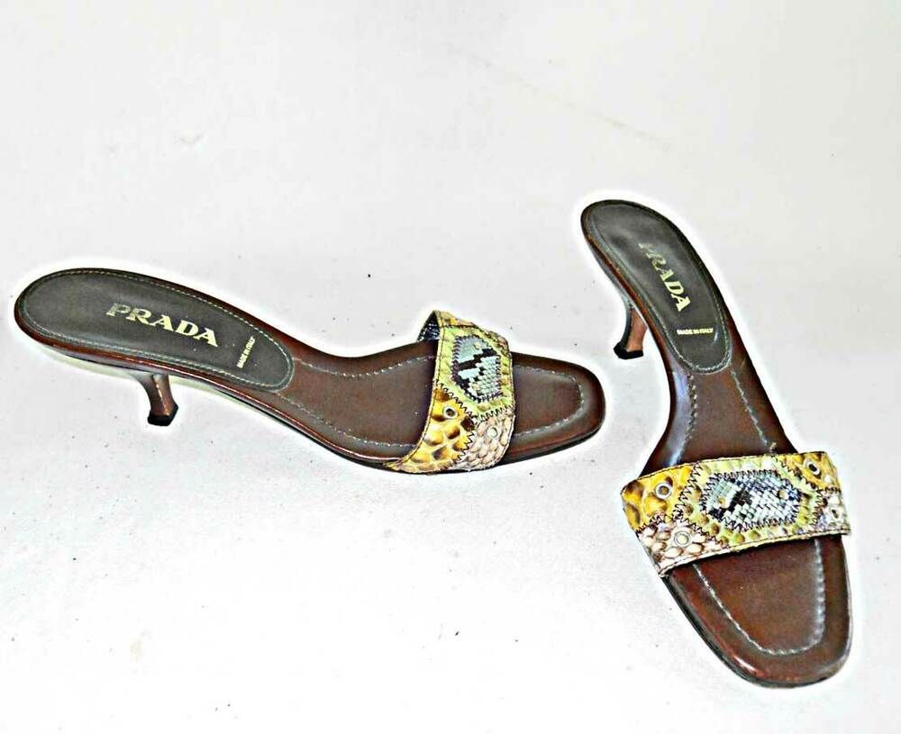 Prada Mules Slides Sandals Shoes Snakeskin Kitten Heel Western Studs Cowboy 37 5 Vintage Shoes Women Kitten Heels Couture Shoes