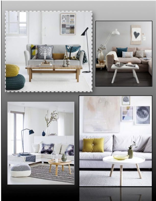 Living rooms can be tough to stage, check out this awesome concept board inspiration for living rooms!